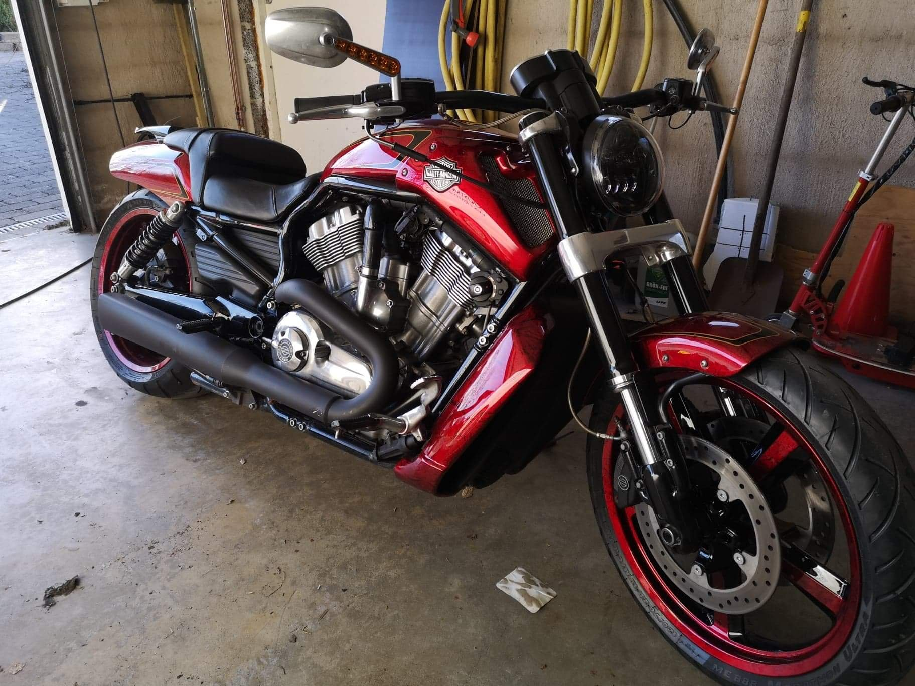 Harley Davidson Muscle gold scallops red candy marble front 4